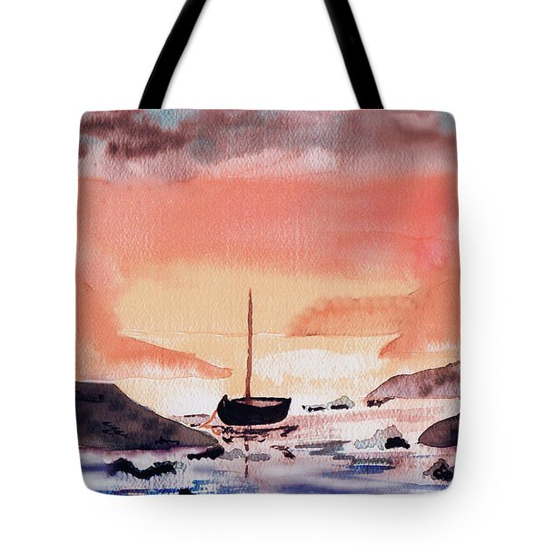 Tote Bag featuring the painting Sunset On The Water by Paula Ayers