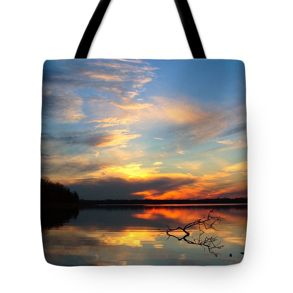 Sunset Over Calm Lake Tote Bag
