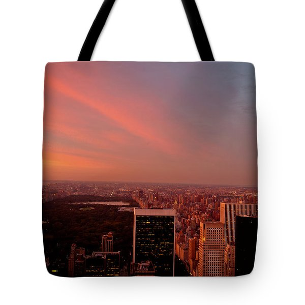Sunset Over Central Park And The New York City Skyline Tote Bag by Vivienne Gucwa