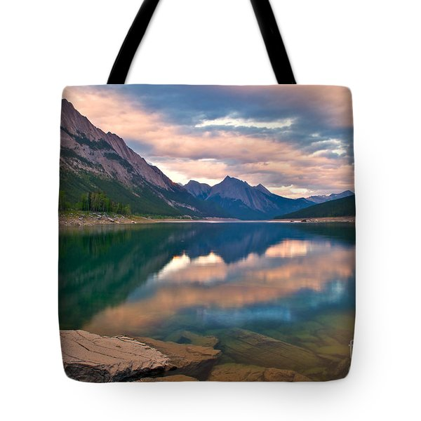 Sunset Over Medicine Lake Tote Bag by James Steinberg and Photo Researchers