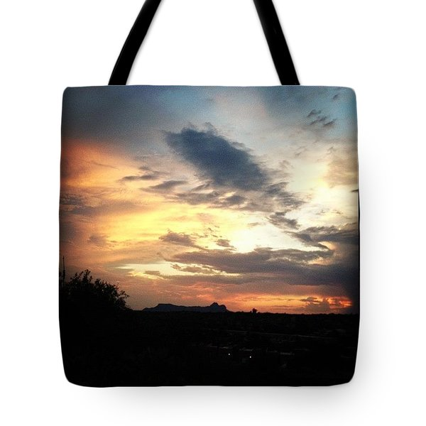 Sunset Over Tucson Mountains Tote Bag