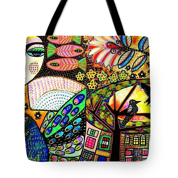 -sunset Peacock Goddess Tote Bag