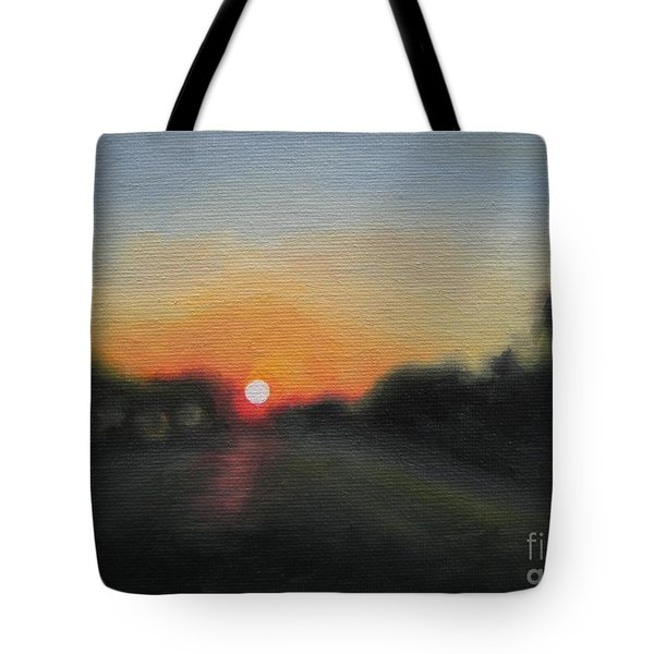 Tote Bag featuring the painting Sunset Road by Jindra Noewi