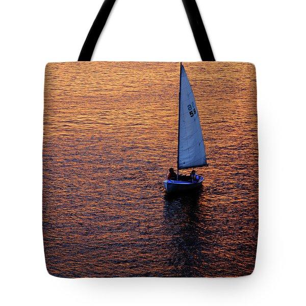 Sunset Sailing Tote Bag by Rick Berk