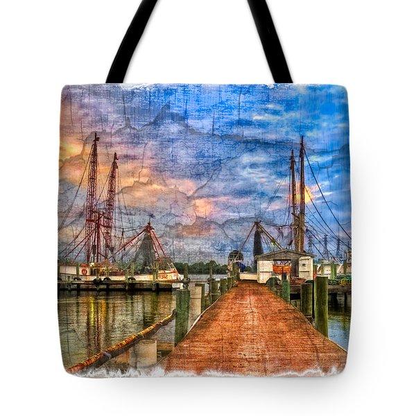 Sunset Shrimping II Tote Bag by Debra and Dave Vanderlaan