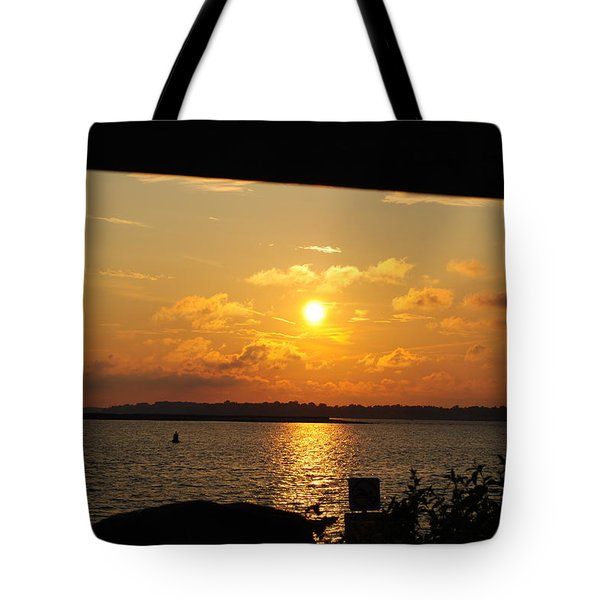 Tote Bag featuring the photograph Sunset Through The Rails by Michael Frank Jr