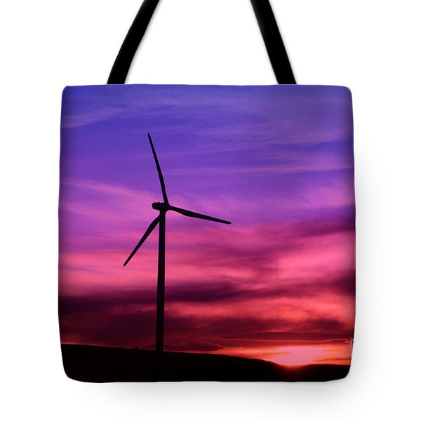 Tote Bag featuring the photograph Sunset Windmill by Alyce Taylor