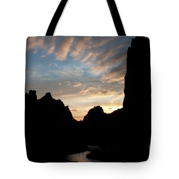 Sunset With Rugged Cliffs In Silhouette Tote Bag by Karen Lee Ensley