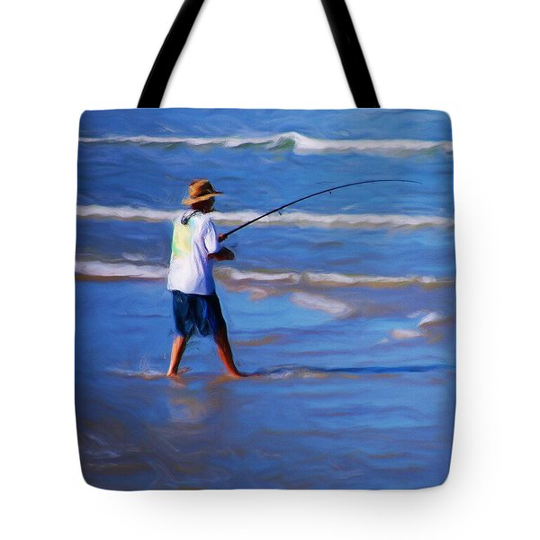 Surf Casting Tote Bag by David Lane