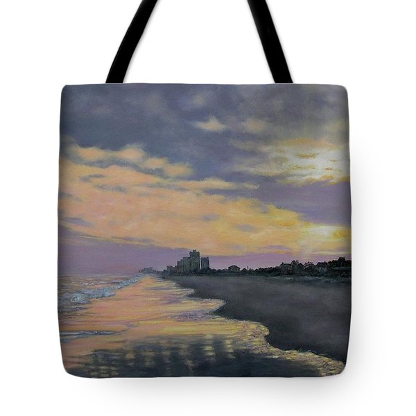 Tote Bag featuring the painting Surf Sunset Reflections by Kathleen McDermott