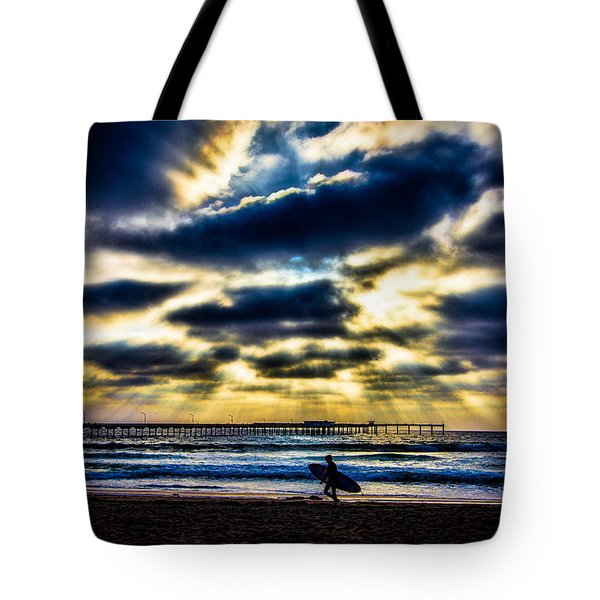 Surfer At Pacific Beach Tote Bag by Chris Lord