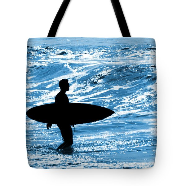 Surfer Silhouette Tote Bag by Carlos Caetano
