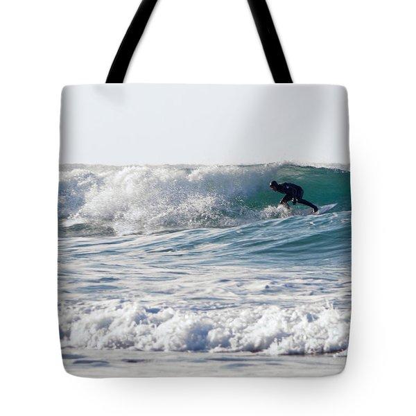Surfers At Porthtowan Cornwall Tote Bag by Brian Roscorla
