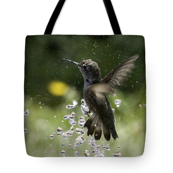 Surfing The Drops Of Water Tote Bag by Betty Depee