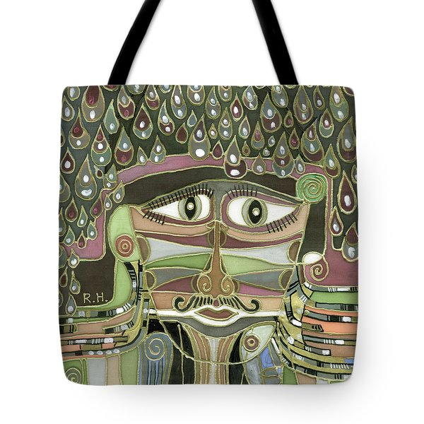 Surprize Drops Surrealistic Green Brown Face With  Liquid Drops Large Eyes Mustache  Tote Bag by Rachel Hershkovitz
