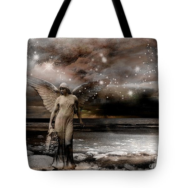 Surreal Fantasy Celestial Angel With Stars Tote Bag by Kathy Fornal