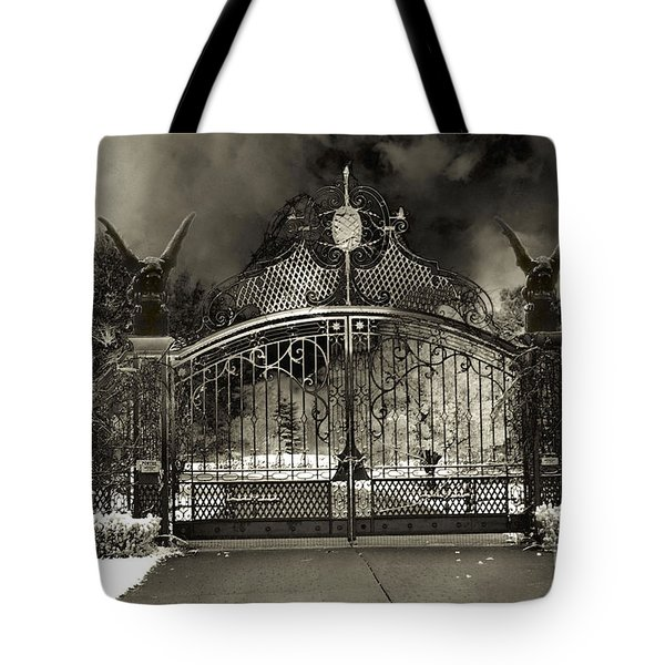 Surreal Gothic Gate And Gargoyles Stormy Haunted Sepia Nightscape Tote Bag