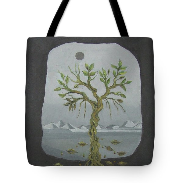 Surreal Landscape Framed  With Tree Falling Leaves Moon Mountain Sky   Tote Bag by Rachel Hershkovitz