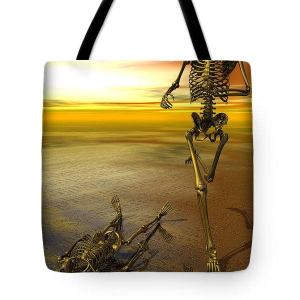 Surreal Skeleton Jogging Past Prone Skeleton With Sunset Tote Bag by Nicholas Burningham