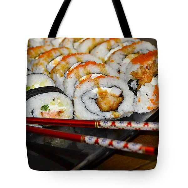 Sushi And Chopsticks Tote Bag by Carolyn Marshall