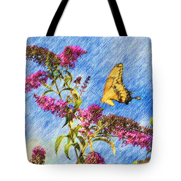 Swallowtail And Butterfly Bush Tote Bag by Heidi Smith