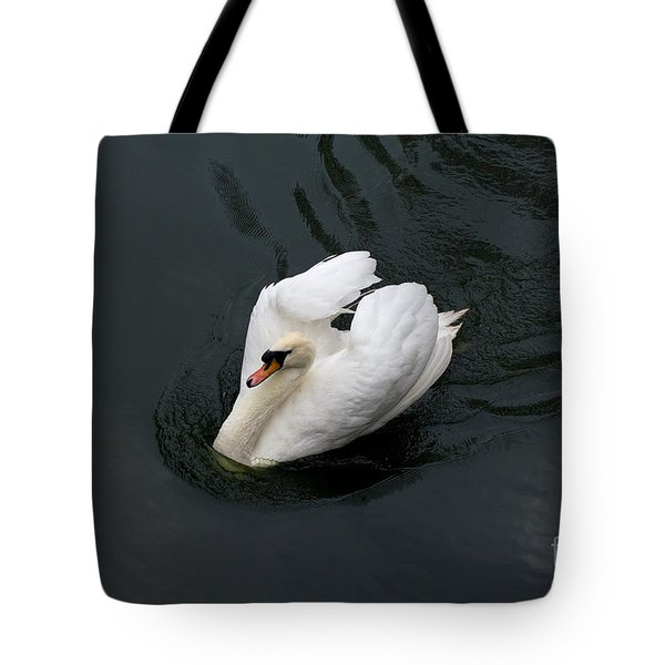 Tote Bag featuring the photograph Swan On Black Water by Les Palenik