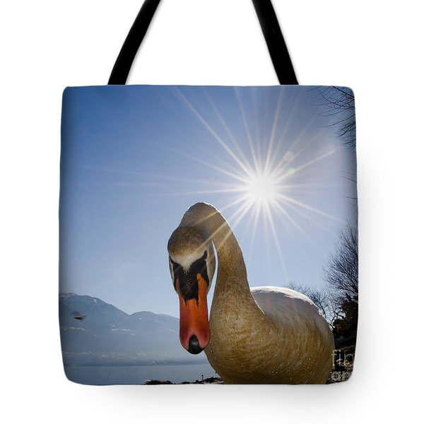Swan Saying Hello Tote Bag