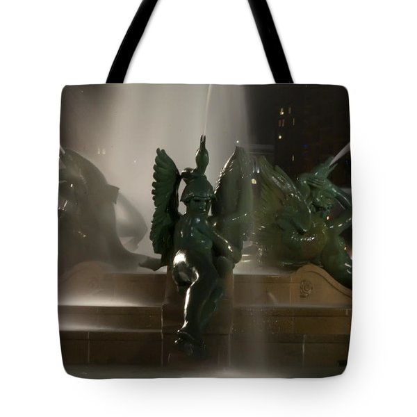 Swann Fountain At Night Tote Bag by Bill Cannon