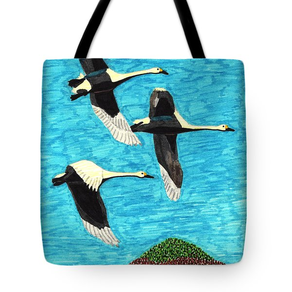 Swans In Flight Tote Bag