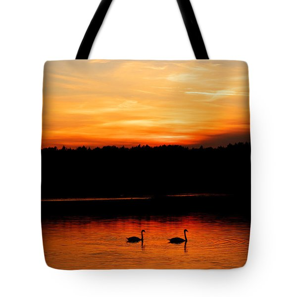 Swans In The Sunset Tote Bag