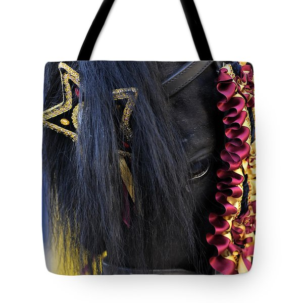 sweetheart - a Menorca race horse with traditional multicolor ribbons and mirror star Tote Bag