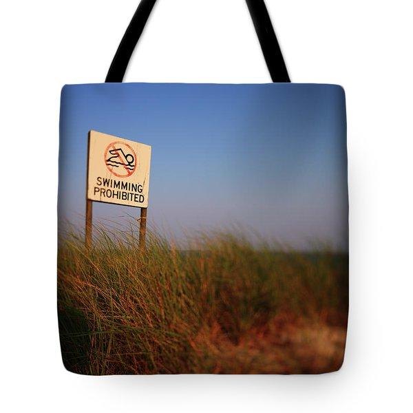 Swimming Prohibited Tote Bag by Rick Berk