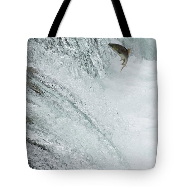 Swimming Upstream Tote Bag by Gloria & Richard Maschmeyer