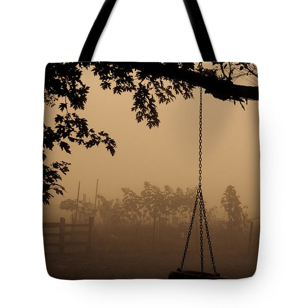 Tote Bag featuring the photograph Swing In The Fog by Cheryl Baxter