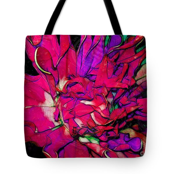 Swirly Fabric Flower Tote Bag by Judi Bagwell