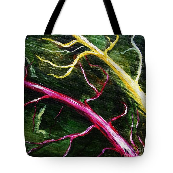 Tote Bag featuring the painting Swiss-chard by Karen  Ferrand Carroll