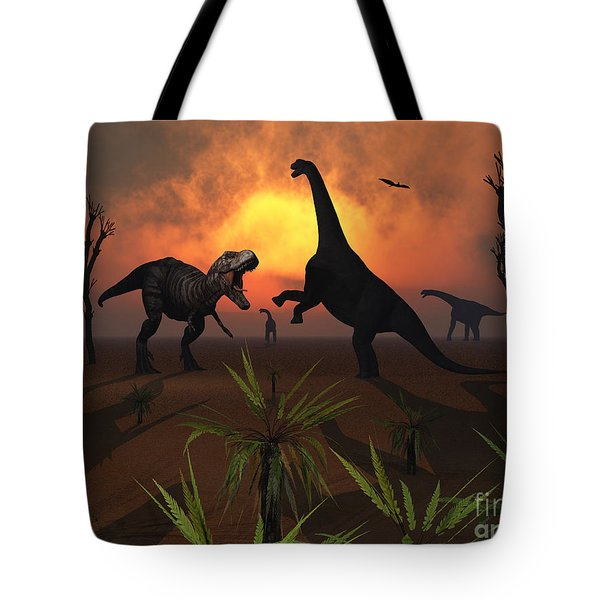 T. Rex Confronts A Group Tote Bag by Mark Stevenson
