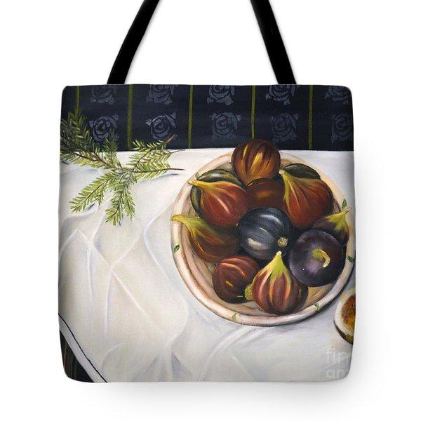 Tote Bag featuring the painting Table With Figs by Carol Sweetwood