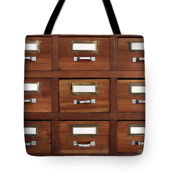 Tagged Drawers Tote Bag by Carlos Caetano