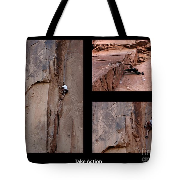 Take Action With Caption Tote Bag by Bob Christopher