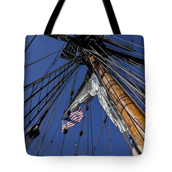 Tall Ship Rigging Tote Bag by Garry Gay