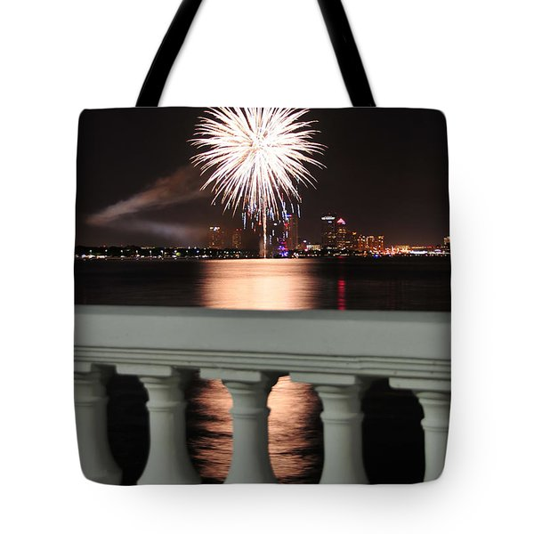 Tampa Bay Fireworks Tote Bag by David Lee Thompson