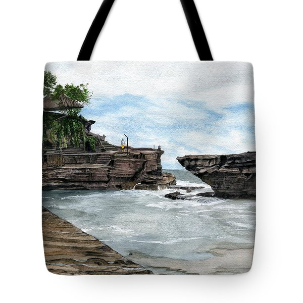 Tote Bag featuring the painting Tanah Lot Temple II Bali Indonesia by Melly Terpening