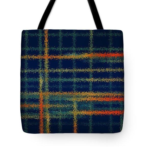 Tangerine Plaid Tote Bag by Bonnie Bruno
