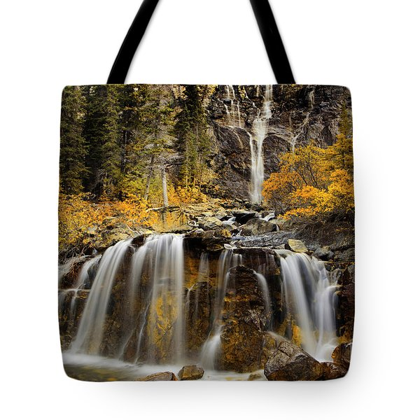 Tote Bag featuring the photograph Tangle Falls, Jasper National Park by Keith Kapple