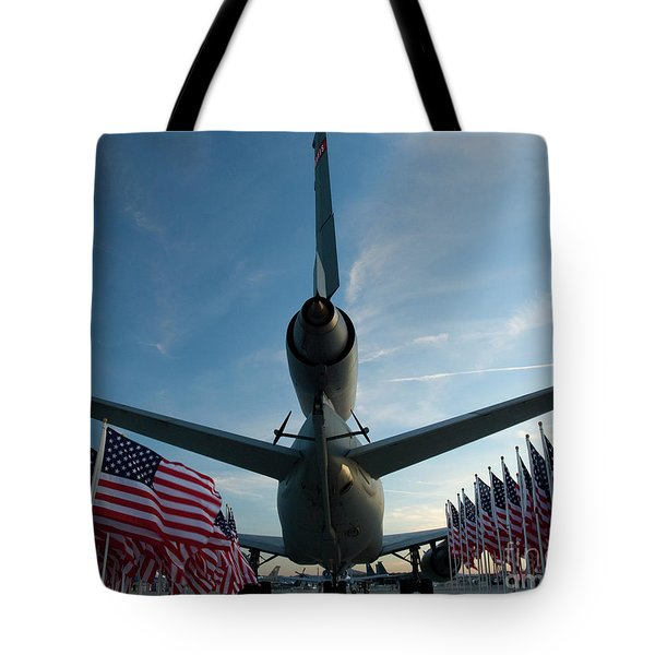 Tanker And Flags Tote Bag by Tim Mulina