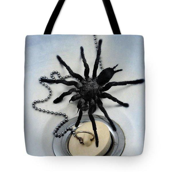 Tarantula In Bathtub Tote Bag by Jill Battaglia
