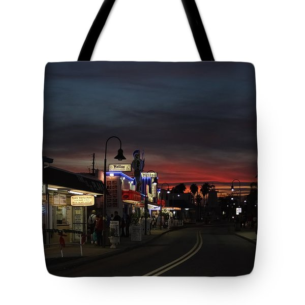 Tote Bag featuring the photograph Tarpon Springs After Sundown by Ed Gleichman