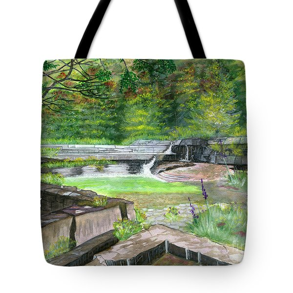 Tote Bag featuring the painting Taughannock Vista Ithaca New York by Melly Terpening