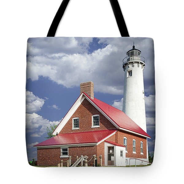Tawas Point Lighthouse In Michigan Number 0007 Tote Bag by Randall Nyhof